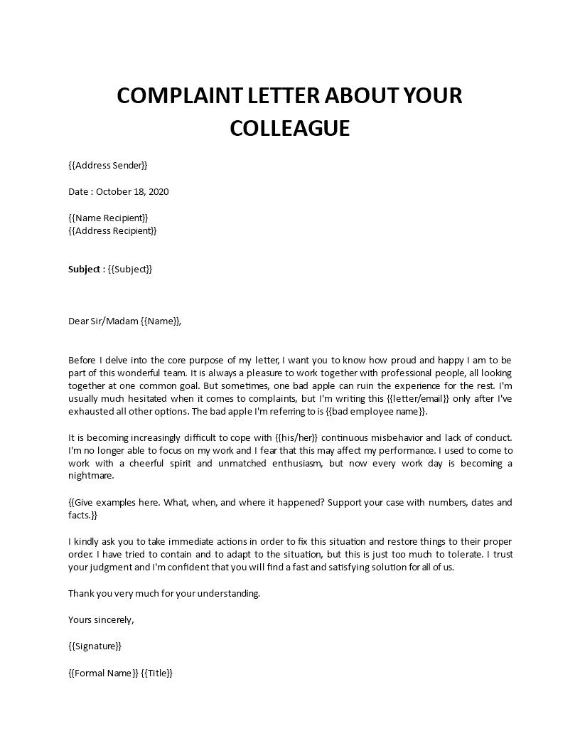 Complaint Letter About Colleague