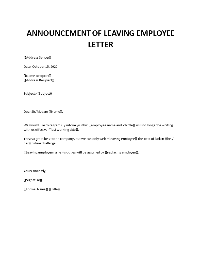 Announcement Of Departing Employee Letter