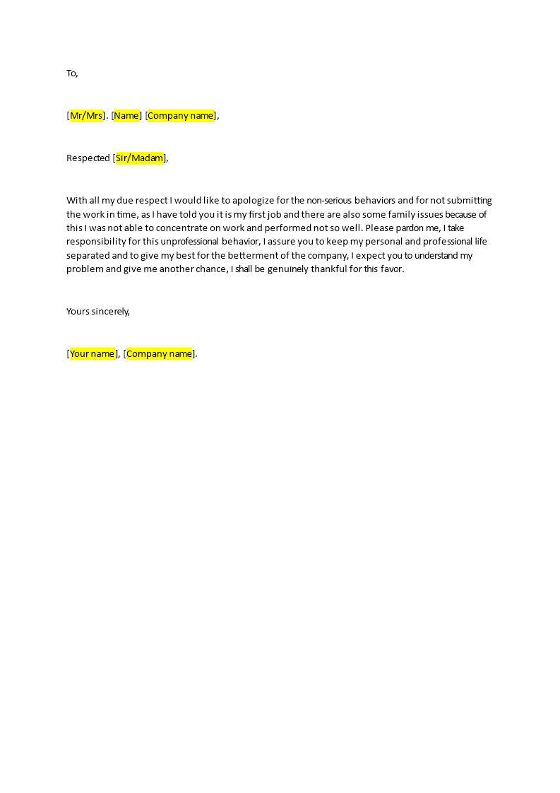 Apology Letter to Boss for Bad Performance