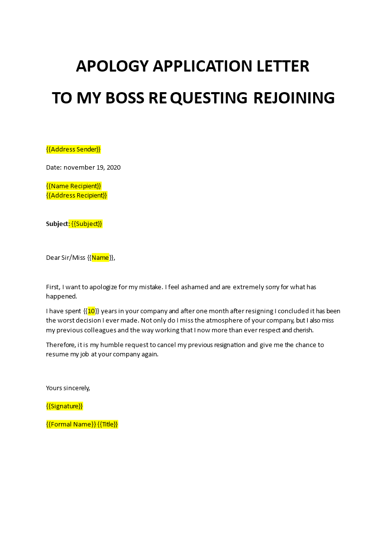 Apology Application Letter to My Boss regarding Rejoining
