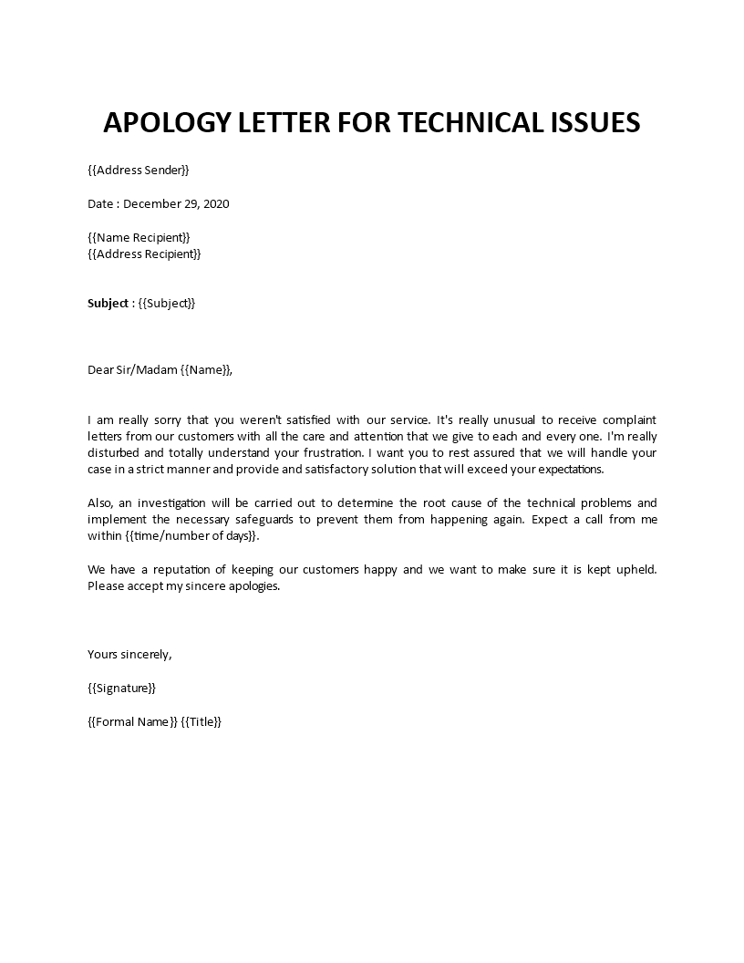 Sincere apology letter sample