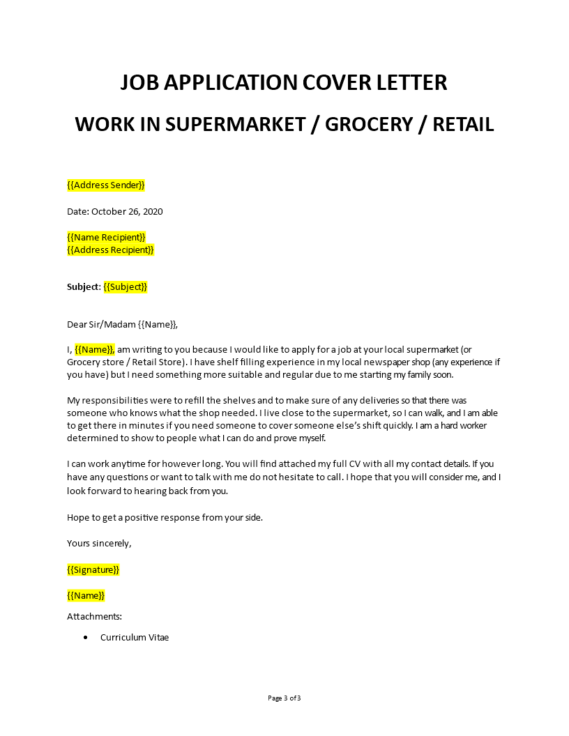 Application Letter To Work In A Supermarket