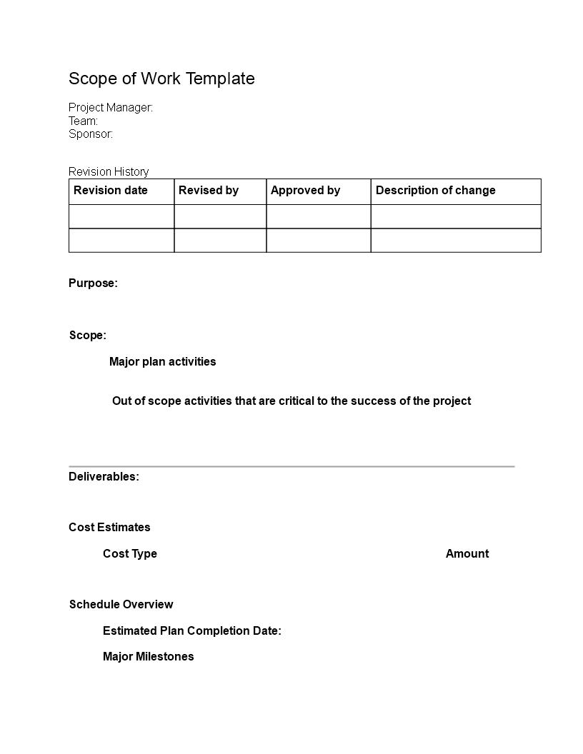 sample scope of work template