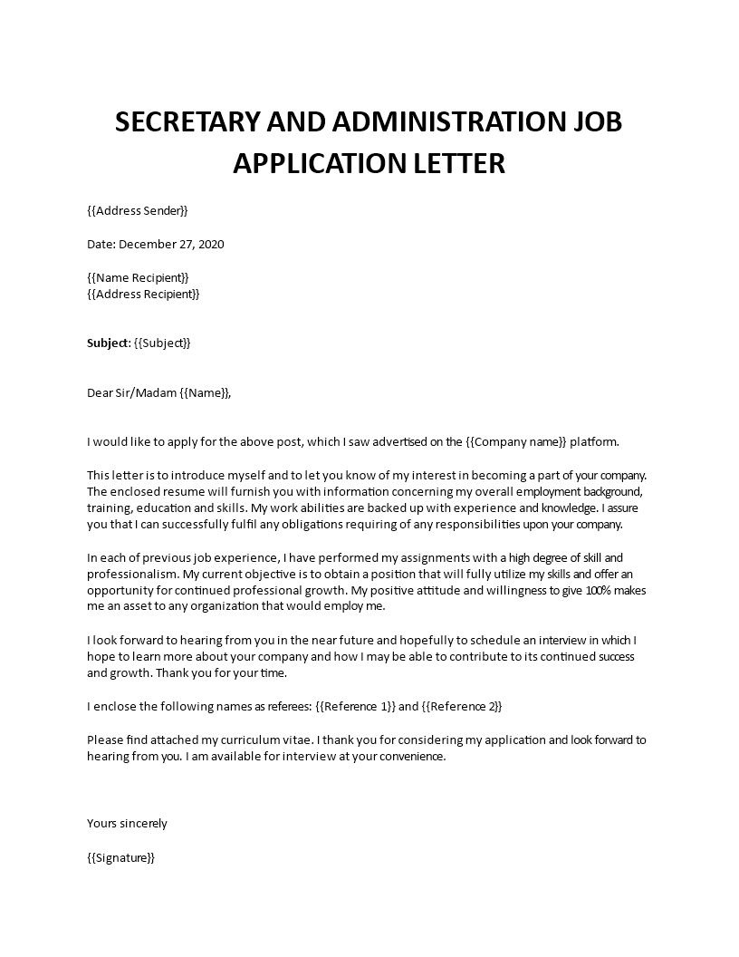 Secretary Job Application Letter