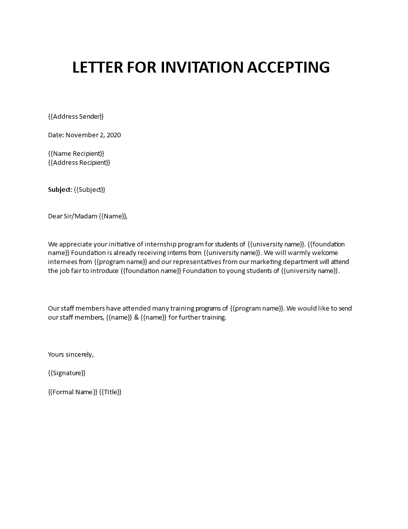 acceptance letter for training invitation