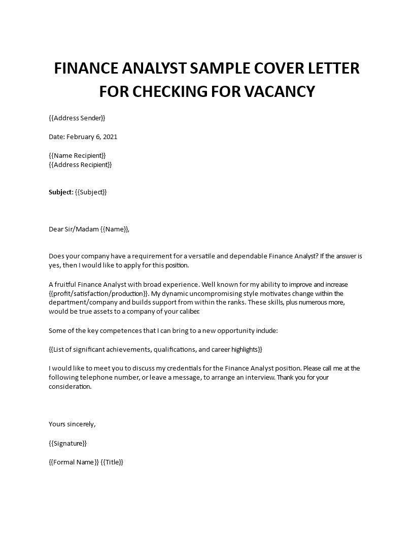 Finance Analyst Sample Cover Letter