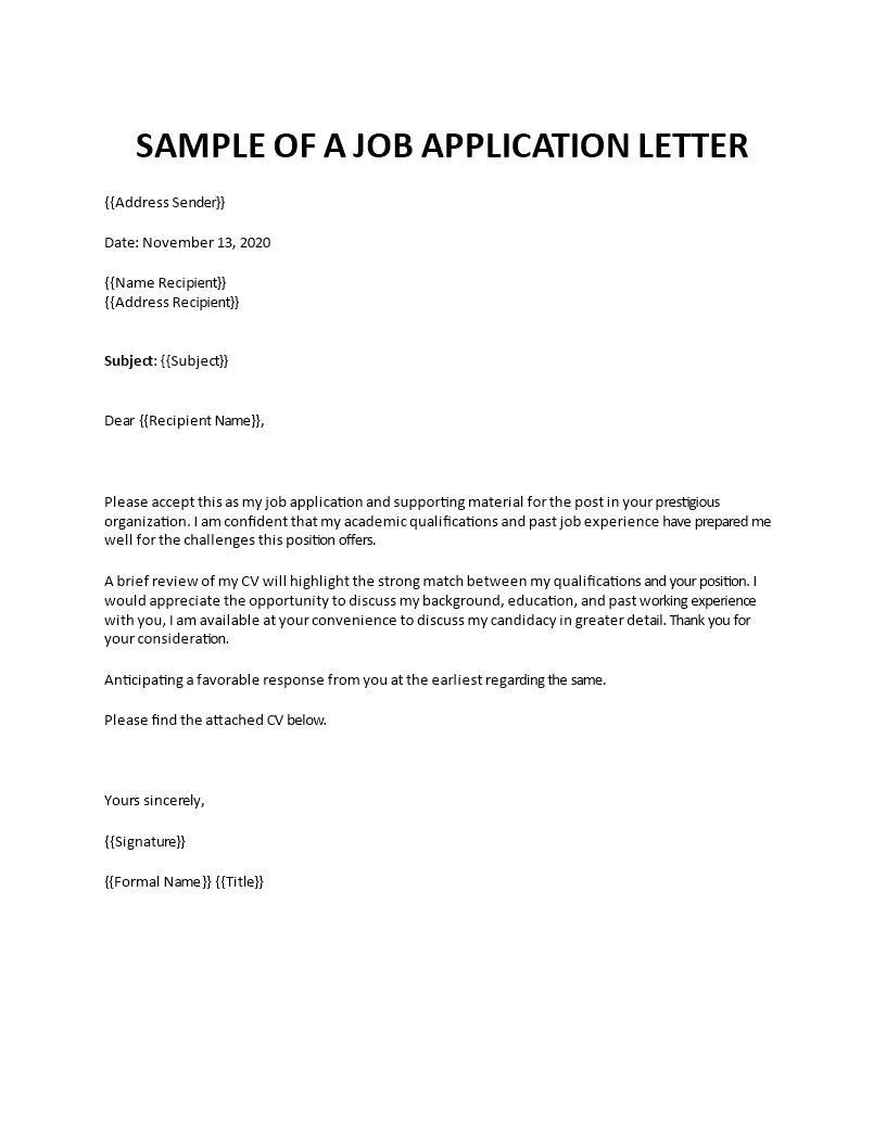 Sample Of Application Letter