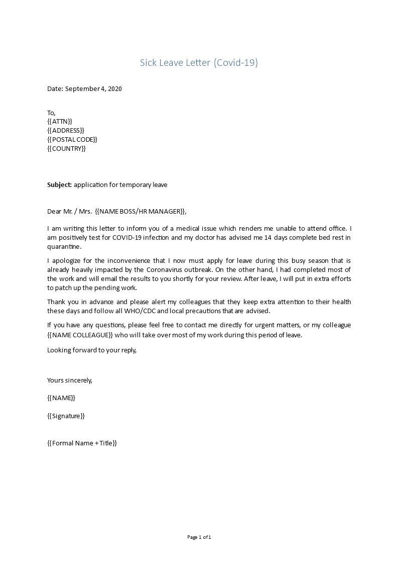 Sick Letter To Work from www.bizzlibrary.com