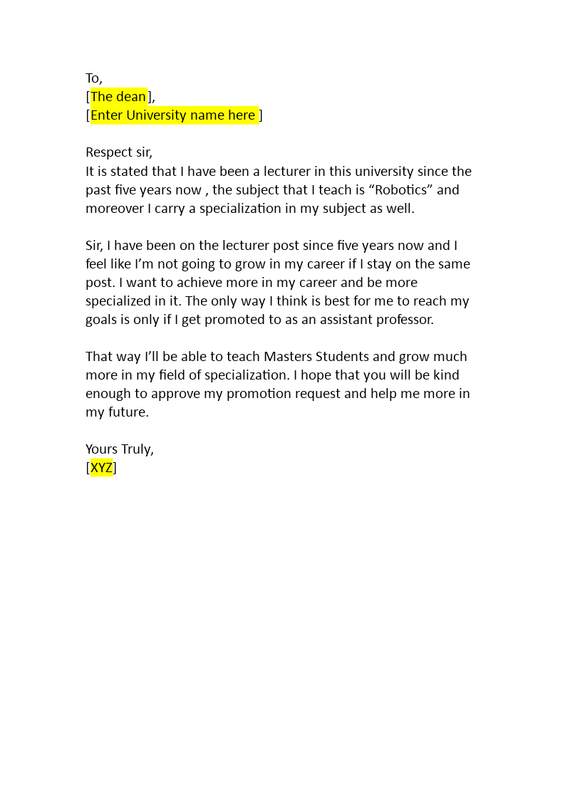 Promotion Request Letter Templates from www.bizzlibrary.com