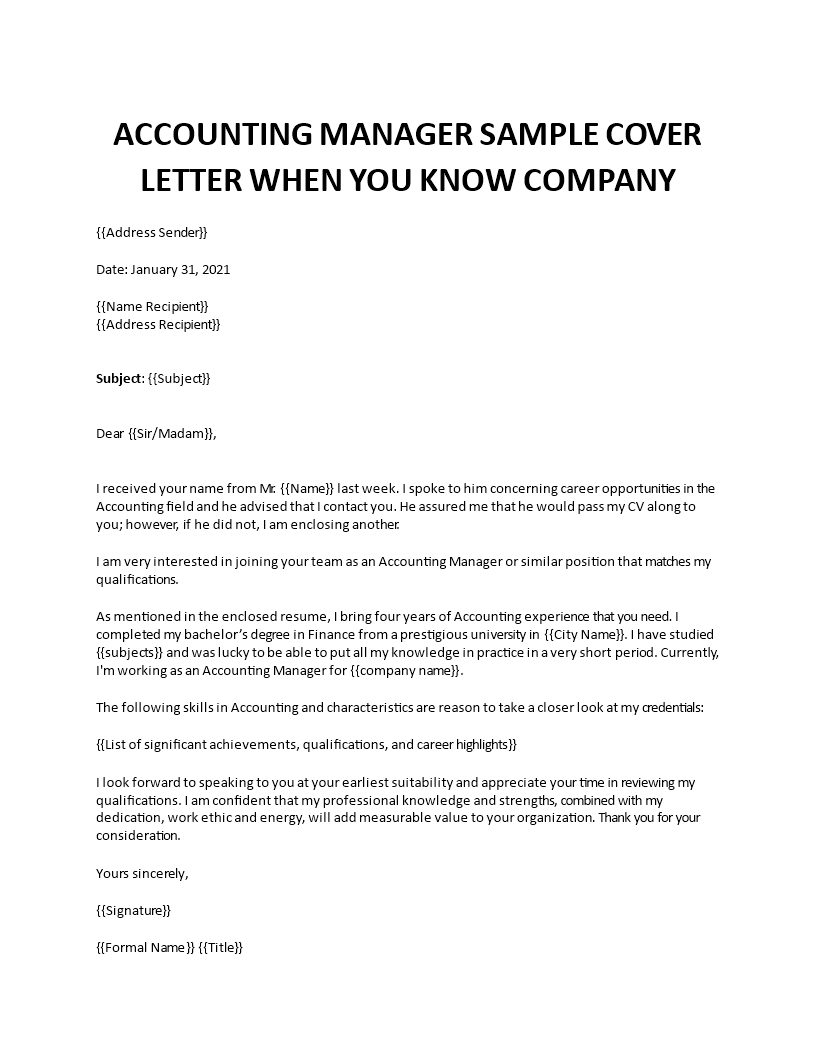Accounting Manager Cover Letter Sample