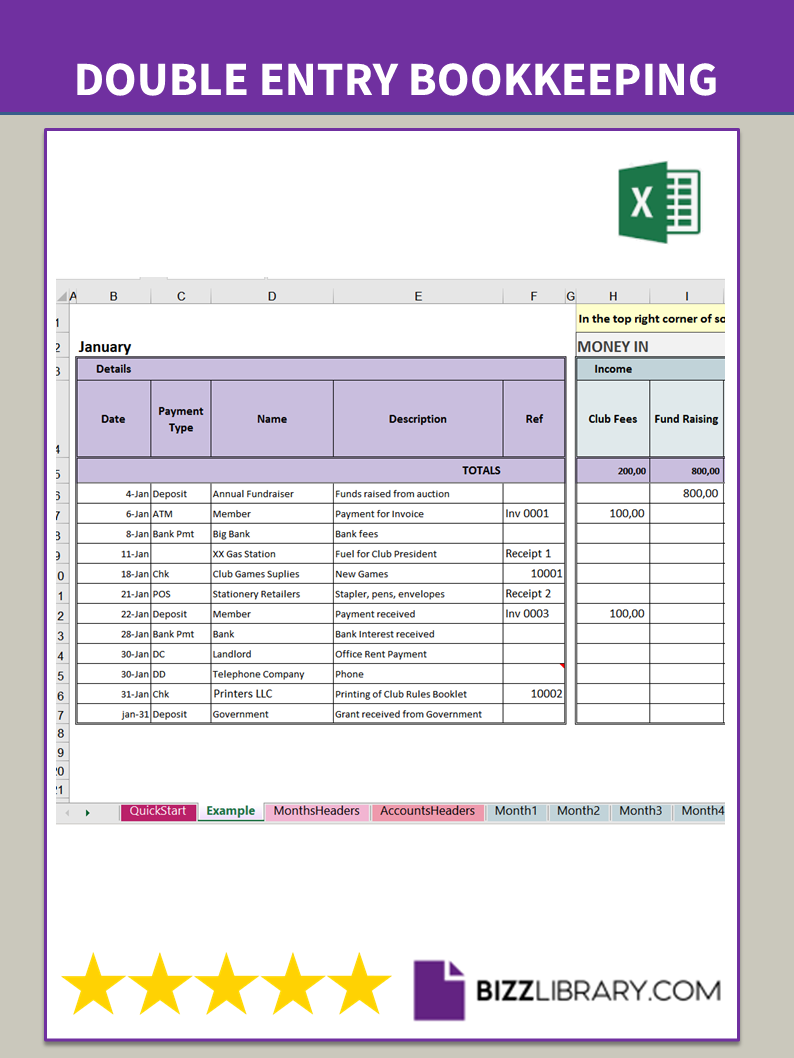 Double entry bookkeeping Excel spreadsheet free With Regard To Double Entry Journal Template For Word