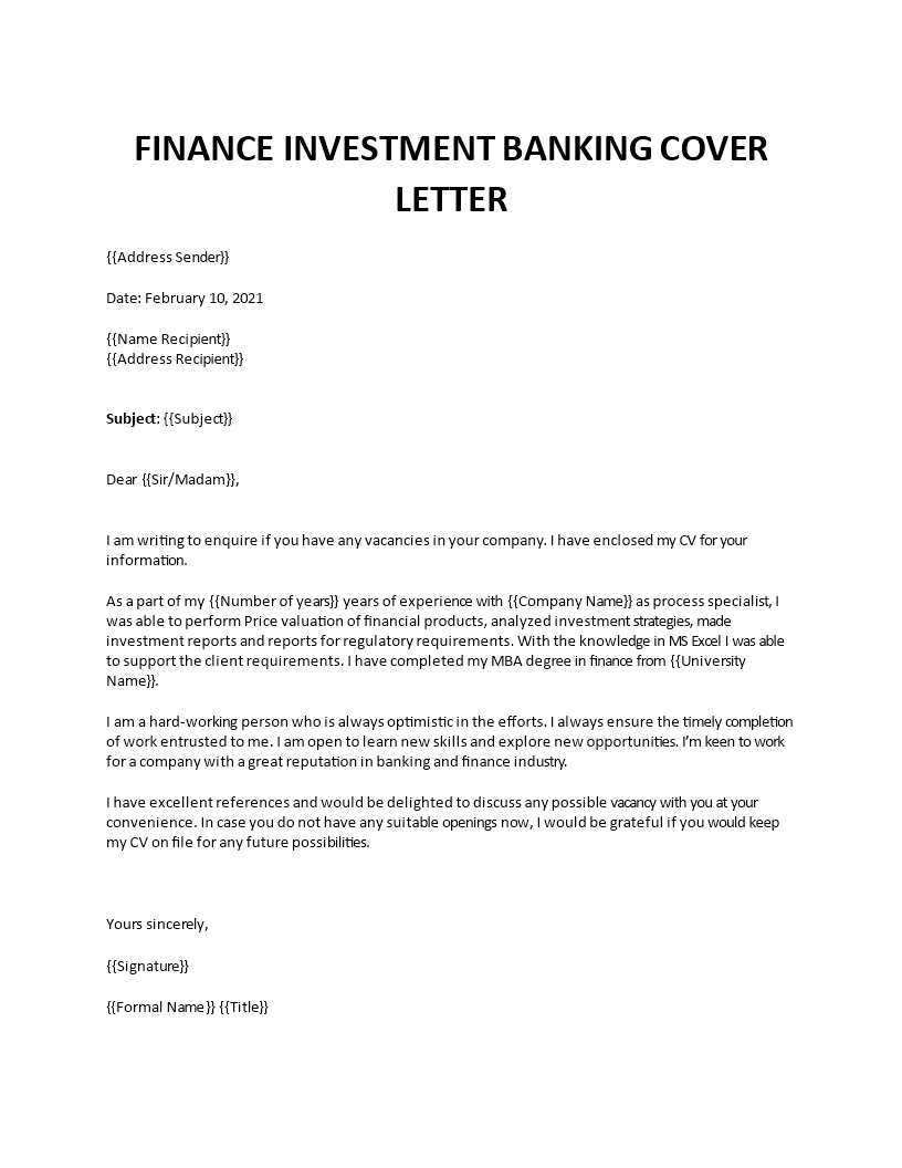 Cover letter intern investment banking gw law cdo cover letter