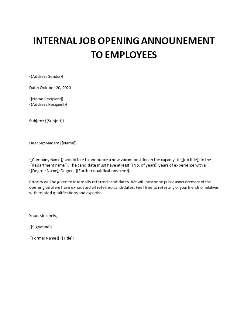 Internal Job Opening Announcement To Employees