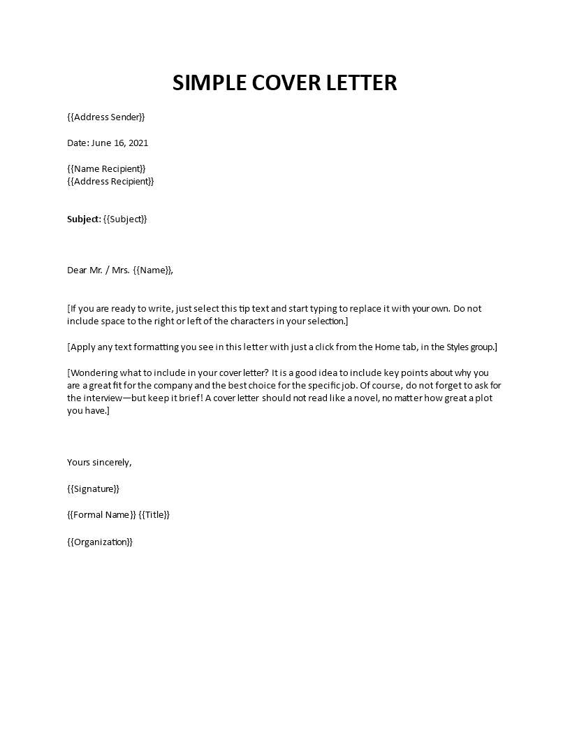 Simple cover letter examples