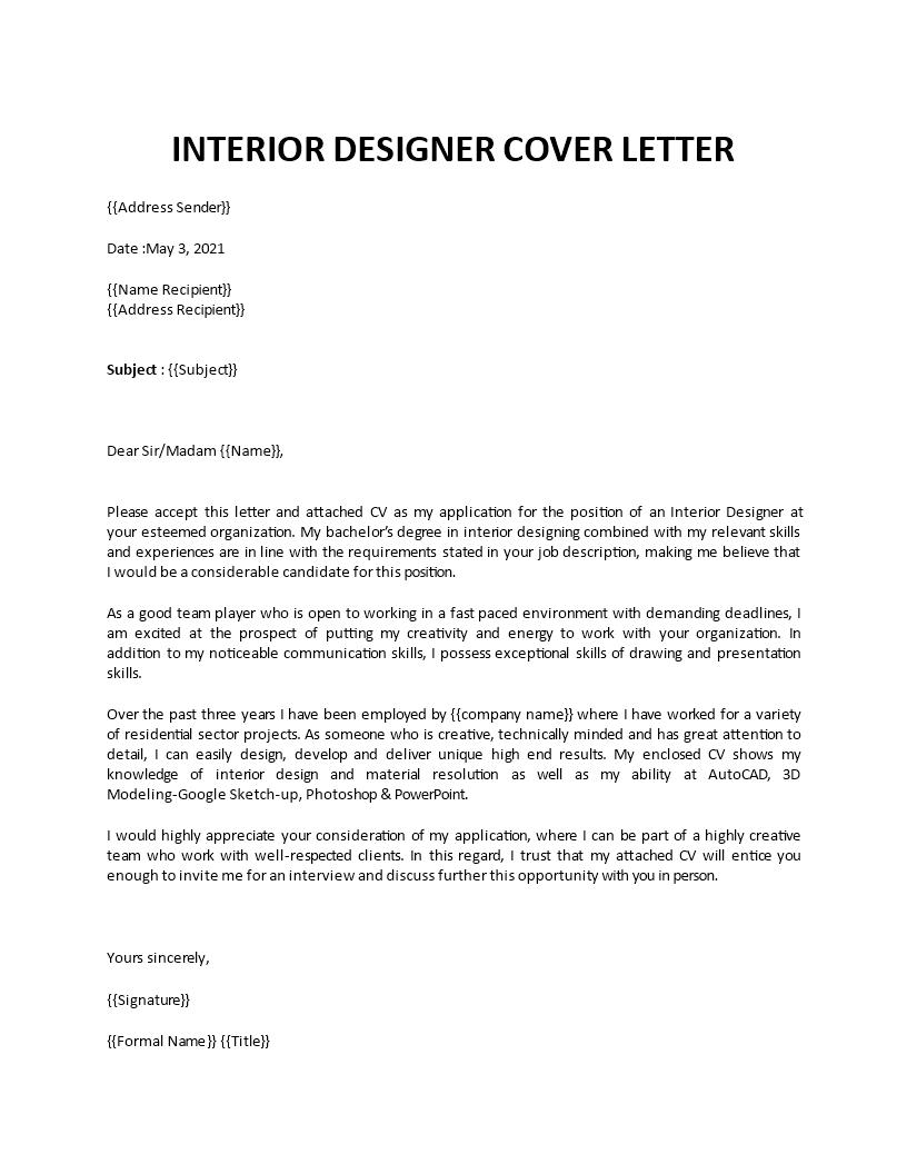 Sample Interior Designer Cover Letter