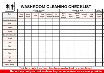 Printable Bathroom Cleaning Checklist