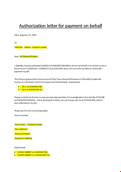 Letter Of Authority To Act On Behalf from www.bizzlibrary.com