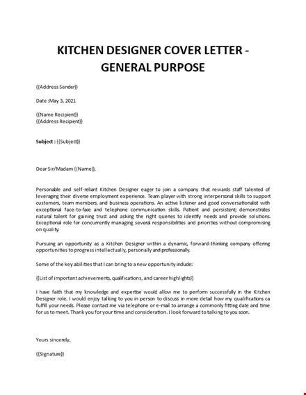 Kitchen Designer Cover Letter