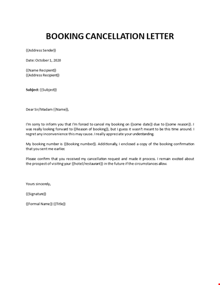 Hotel Booking Cancellation Letter