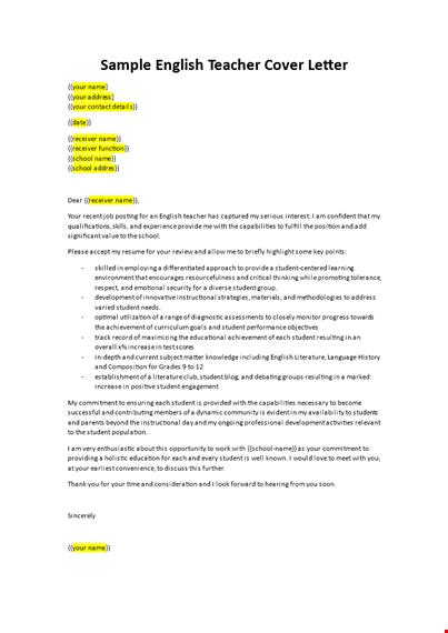 Application Letter For A Teaching Job As An English Teacher