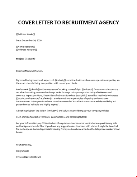 Cover Letter To Recruitment Agency